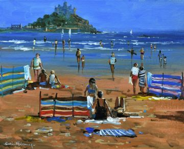 Richard Blowey Original Oil Painting Beach Scene St Michael's Mount Cornwall